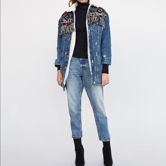 cba0cc18 Zara Jackets & Coats | Trafaluc Tribal Aztec Denim Jacket | Poshmark